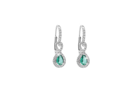Emerald and Diamond 18K White Gold Dangly Hoop Earrings