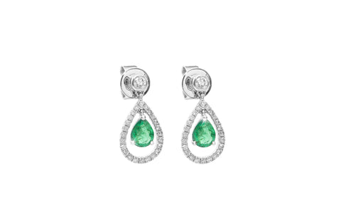 Pear Shape Emerald and Diamond 18K White Gold Dangly Earrings - OUT OF STOCK