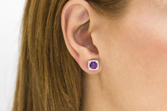 Cushion Cut Amethyst and Diamond Halo 18K White Gold Stud Earrings