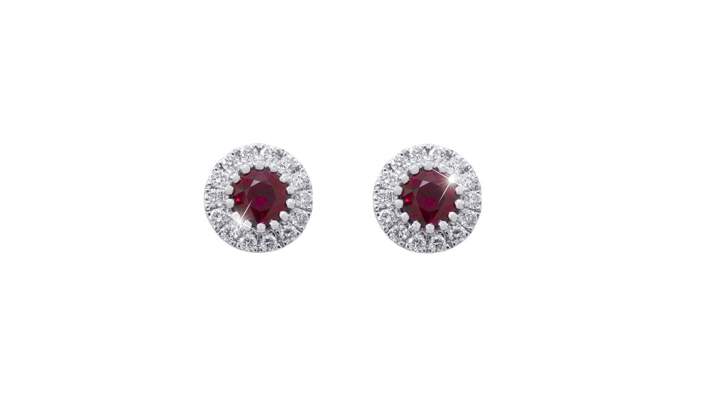 Ruby and Diamond Halo 18K White Gold Stud Earrings