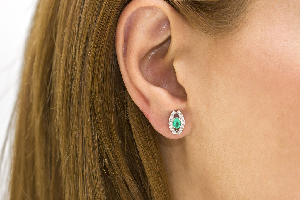 Emerald and Diamond 18K White Gold Stud Earrings