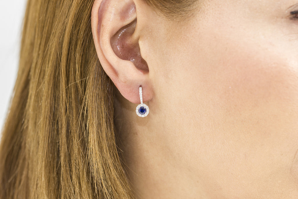 Blue Sapphire and Diamond 18K White Gold Dangly Hoops Earrings - OUT OF STOCK