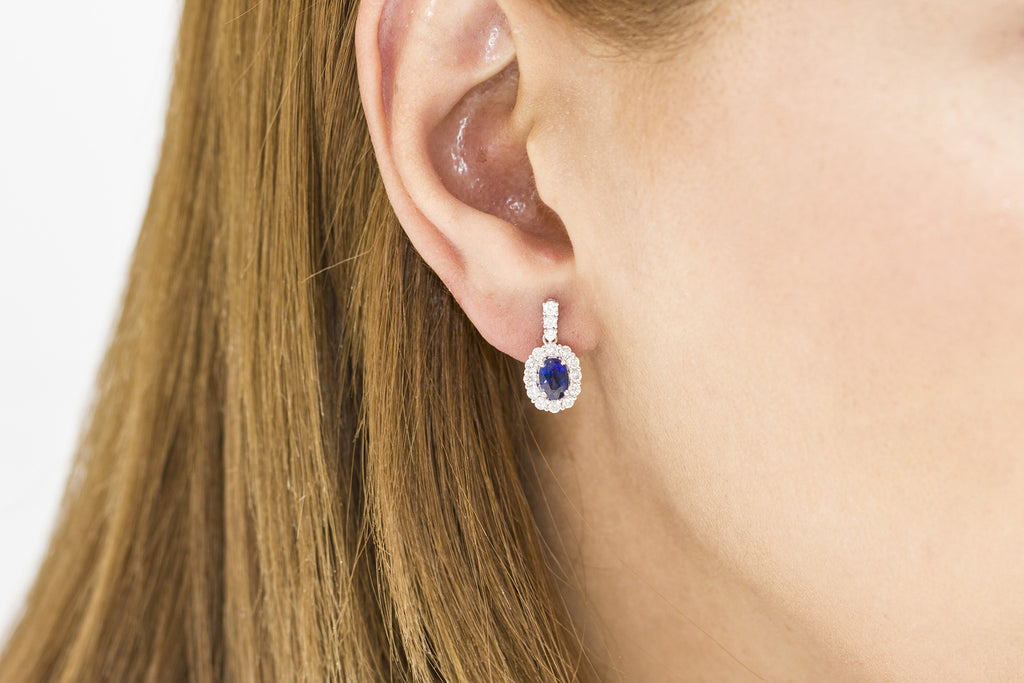 Blue Sapphire and Diamond 18K White Gold Dangly Earrings - OUT OF STOCK