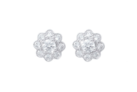 Diamond Cluster 18K White Gold Stud Earrings