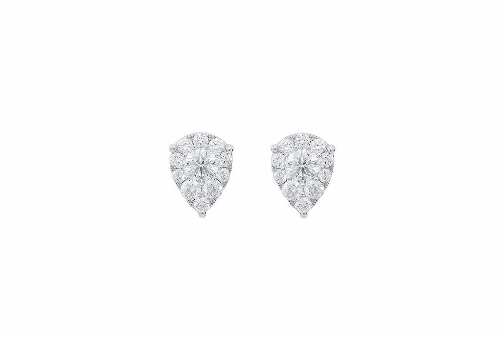 Pear Shaped Diamond 18K White Gold Earring - OUT OF STOCK