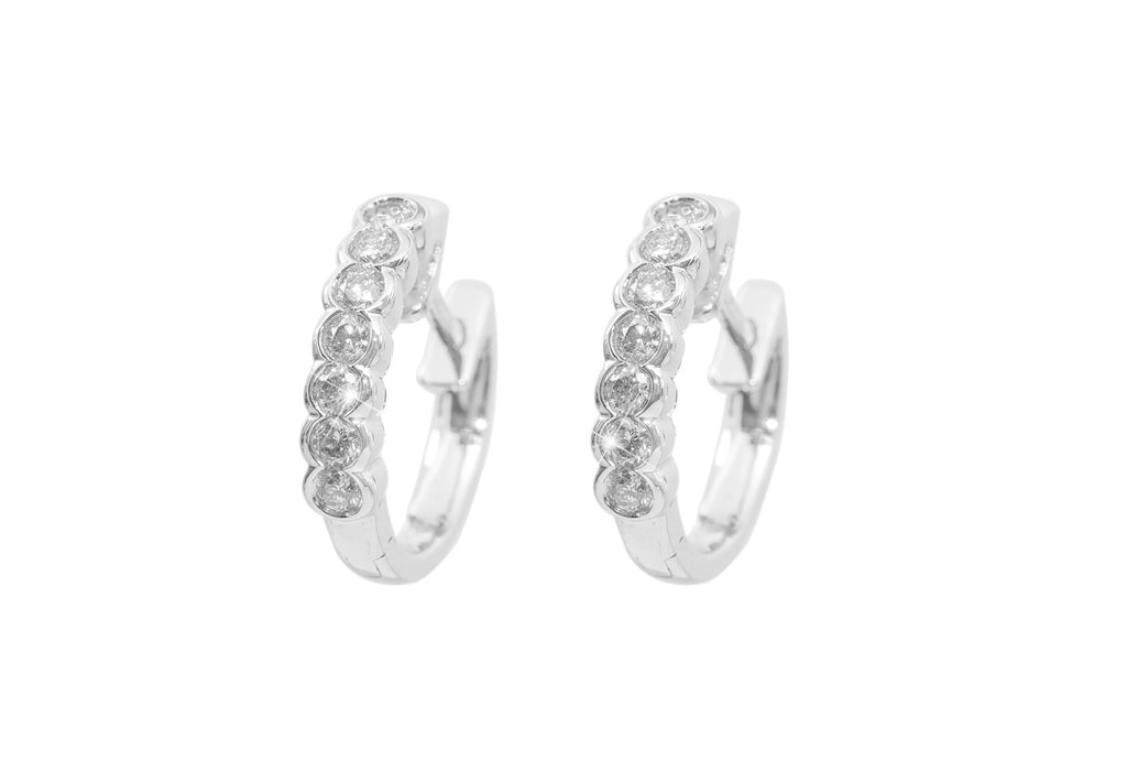 Rub Over Diamond 18K White Gold Hoop Earrings