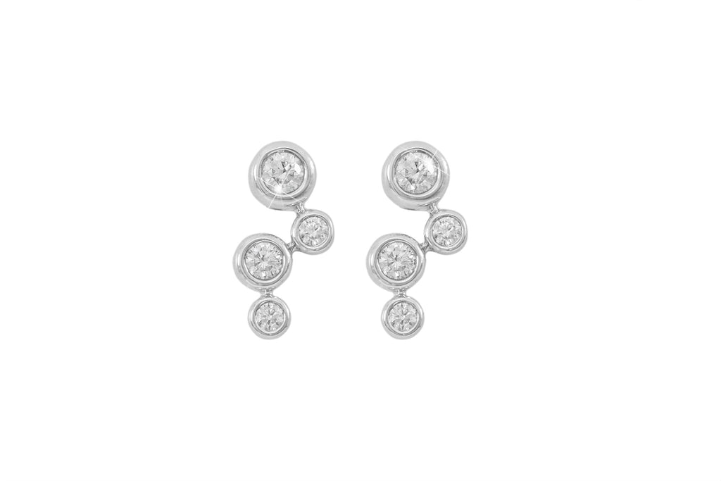 Multi Stone Diamond Donut 18K White Gold Earrings