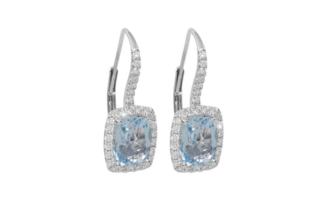 Blue Aquamarine and Diamond 18K White Gold Dangly Earrings
