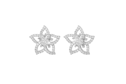 Diamond Flower 18K White Gold Earrings