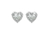 Diamond Heart 18K White Gold Stud Earrings