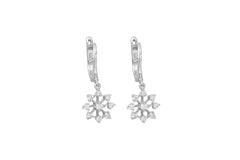 Diamond Snowflake 18K White Gold Dangly Earrings