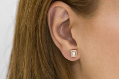 Baguette Cut Diamond Halo 18K Rose Gold Stud Earrings
