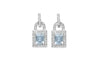 Aquamarine and Diamond Lock Shaped 18K White Gold Earrings