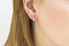 Tourmaline and Diamond 18K White Gold Dangly Earrings - OUT OF STOCK