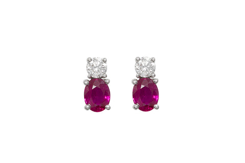 Ruby and Diamond 18K White Gold Stud Earrings - OUT OF STOCK