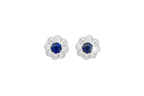Blue Sapphire and Diamond Cluster 18K White Gold Stud Earrings