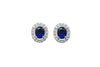 Blue Sapphire and Diamond Halo 18K White Gold Stud Earrings