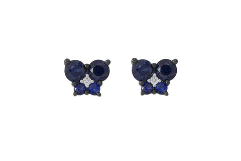 Blue Sapphire and Diamond Butterfly 18K White Gold Stud Earrings