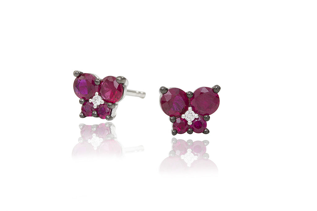 Ruby and Diamond Butterfly 18K White Gold Stud Earrings