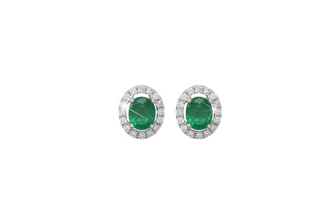 Emerald and Diamond Halo 18K White Gold Stud Earrings