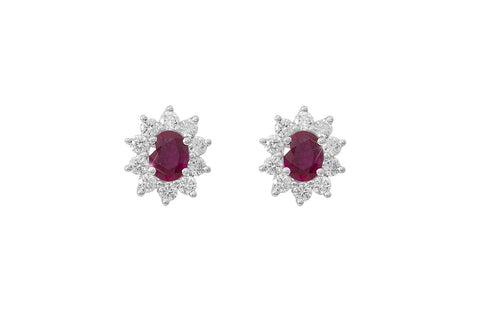 Ruby and Diamond Cluster 18K White Gold Stud Earrings