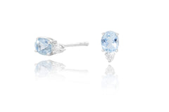 Aquamarine and Diamond 18K White Gold Stud Earrings - OUT OF STOCK