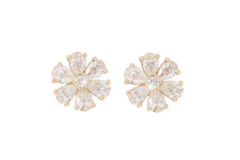 Diamond Flower 18K Rose Gold Stud Earrings