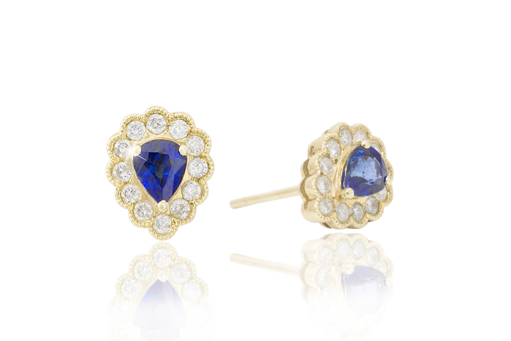 Blue Sapphire and Diamond Cluster 18K Yellow Gold Stud Earrings