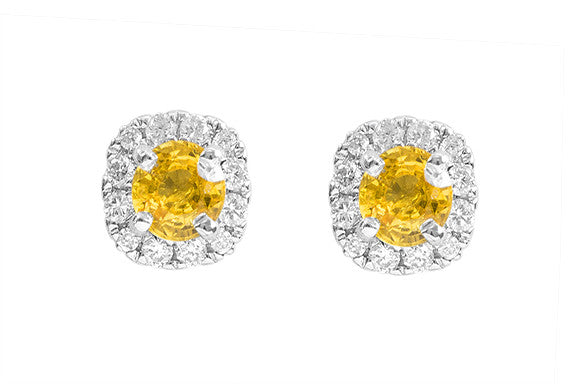 Yellow Sapphire  and Diamond 18K White Gold Earrings
