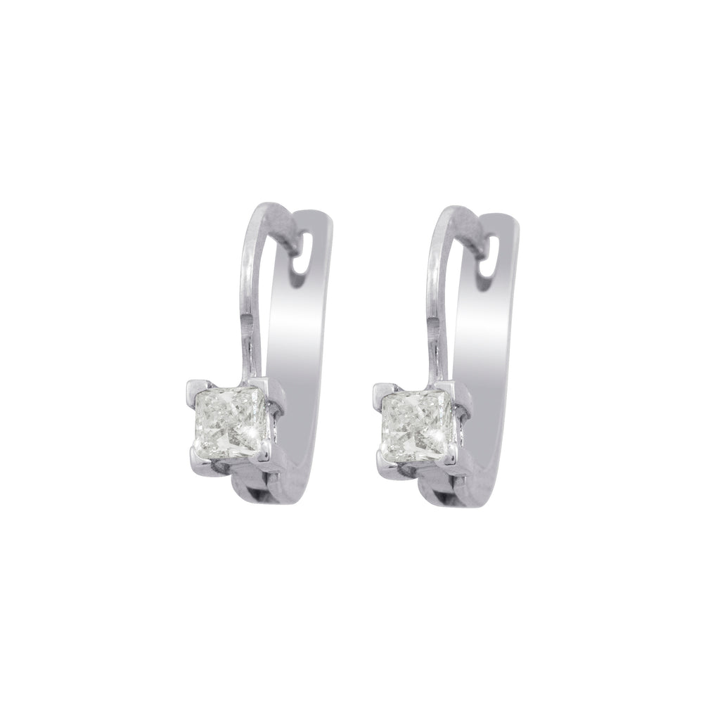 Princess Cut Solitaire Diamond Drop Dangle Leverback 18K White Gold Earrings