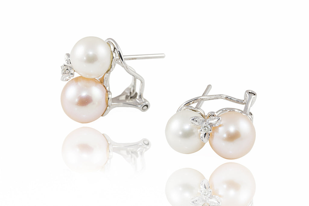 Pink & White Pearl and Diamond 18K White Gold Earrings