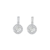 Diamond Halo 18K White Gold Earrings