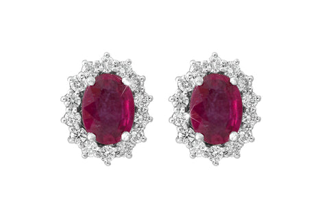Oval Cut Ruby  and Diamond Cluster 18K White Gold Stud Earrings