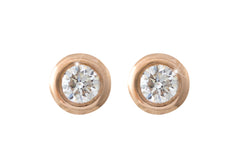 Rub Over Diamond 18K  Rose Gold Stud Earrings