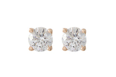 Round Brilliant Cut Diamond 18K  Rose Gold Stud Earrings