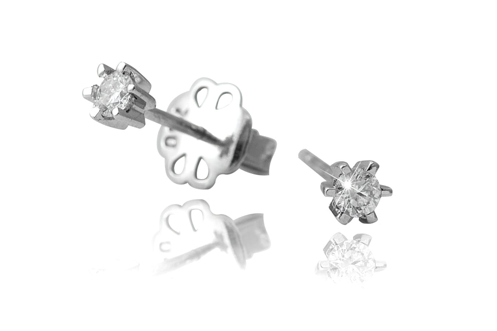 Six Claws Setting Round Brilliant Cut Diamond 18K  White Gold Stud Earrings