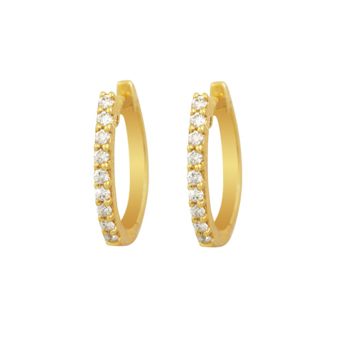 Claw Setting Diamond 18K Yellow Gold Hoop Earrings