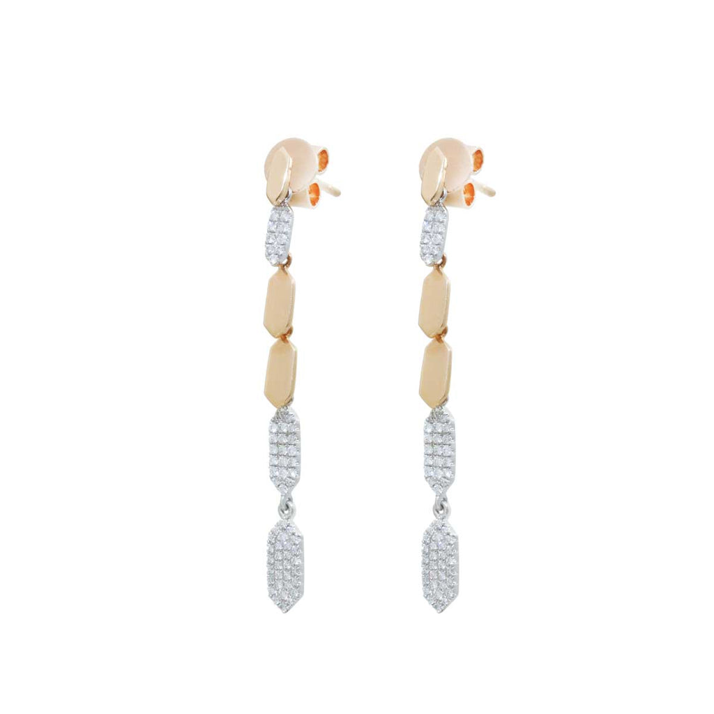 Rose Gold Dangly 18K Diamond Earrings