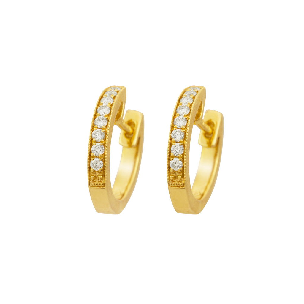 Diamond Hoop 18K Yellow Gold Earrings