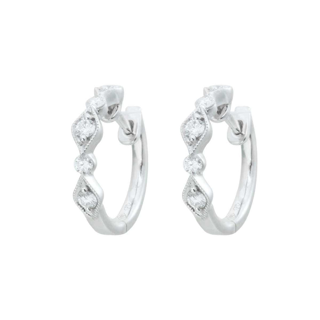 18K White Gold Hoops Diamond Earrings-OUT OF STOCK
