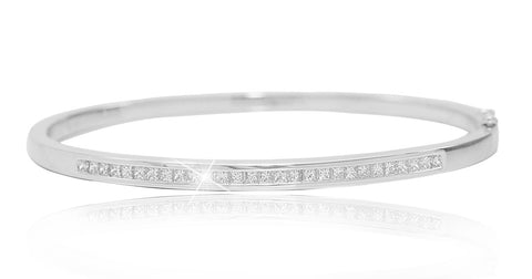 Princess Cut Diamond White Gold Bangle