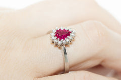 Pear Shaped Ruby and Diamond 14K White Gold Ring
