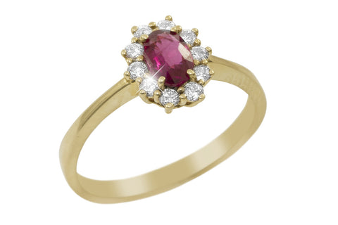 Ruby and Diamond Cluster 14K Yellow Gold Ring