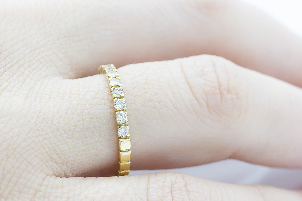 Half Eternity Channel Set Diamond 18K Yellow Gold Ring