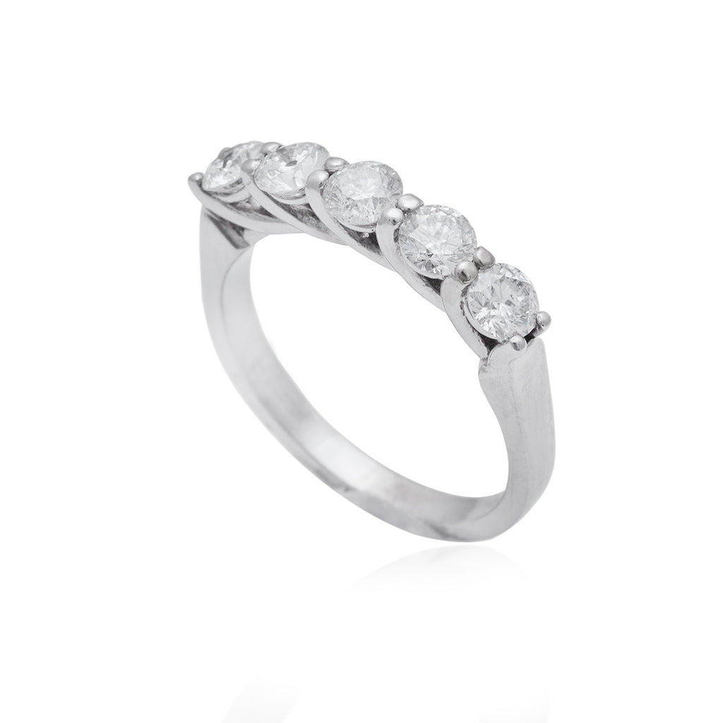 1.05 Carat 5 Stone Crossover Claw Set 18K White Gold Diamond Ring