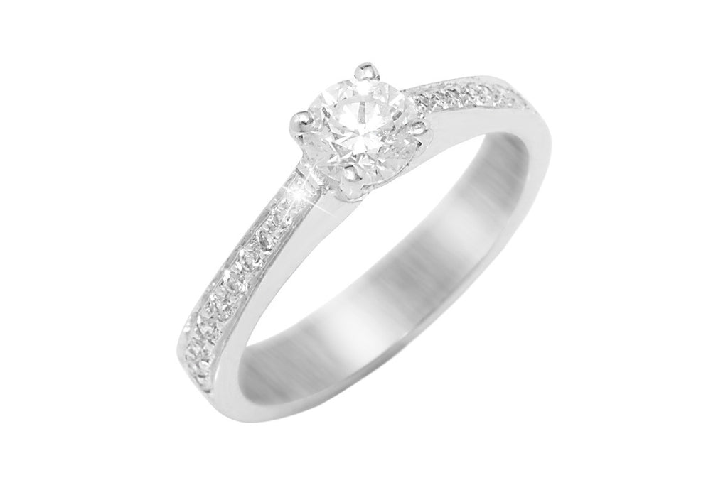 Round Cut Diamond 18K White Gold Ring - OUT OF STOCK