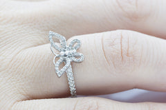 Butterfly Shaped Diamond 18K White Gold Ring