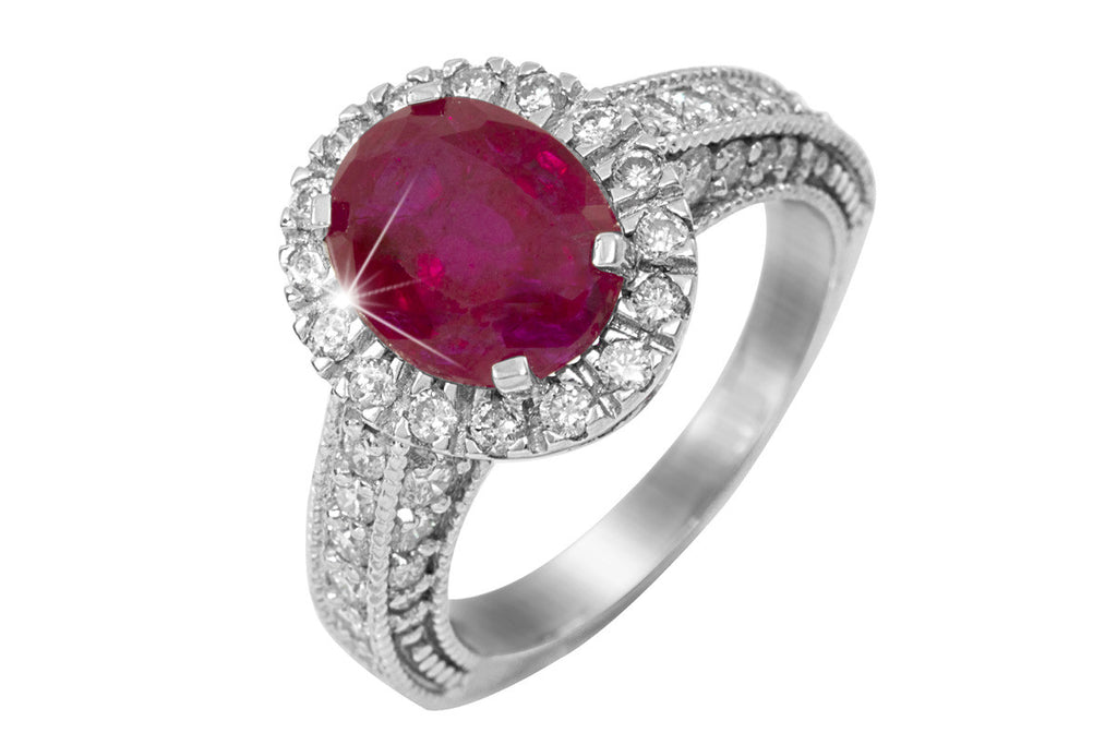 Ruby and Diamond Halo 18K White Gold Ring - OUT OF STOCK