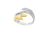 Bi Colour Four Strand 18K White & Yellow Gold Diamond Ring