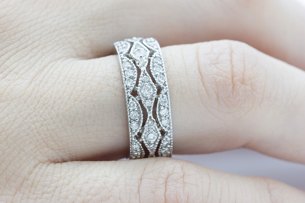 Filigree Diamond 18K White Gold Ring